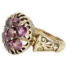 14k Victorian Garnet Cluster Ring