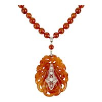 Art Deco Carved Carnelian Citron and Diamond Necklace