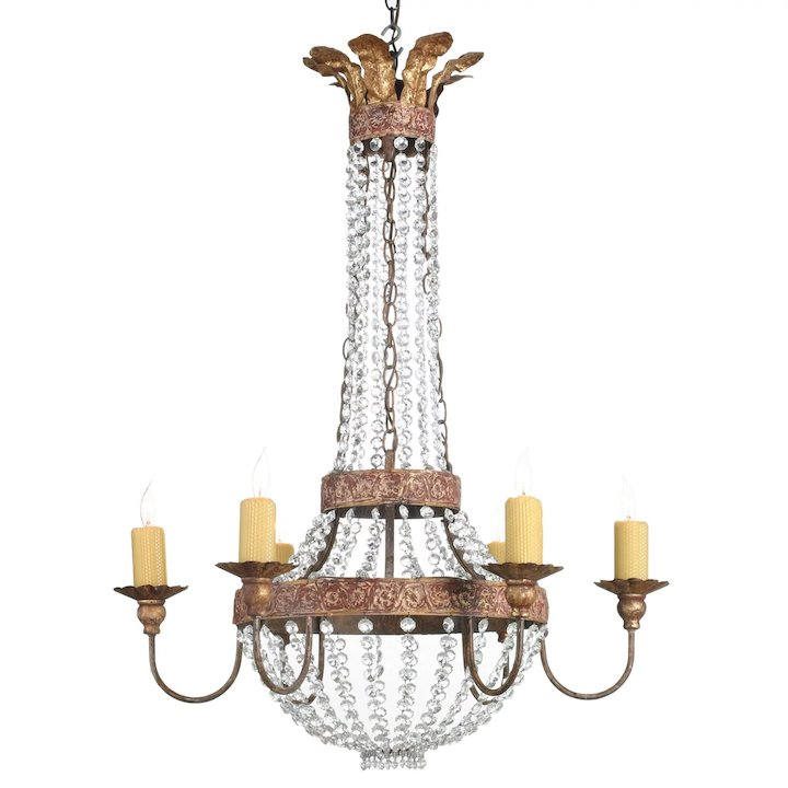 Niermann weeks six arm iron and crystal chandelier c1978