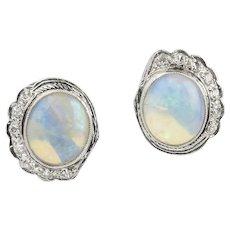 Vintage 14K Opal and Diamond Earrings