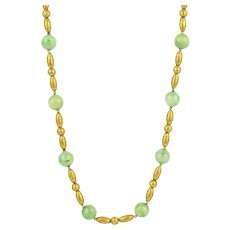 14K Etruscan Revival Jade and Gold Bead Necklace