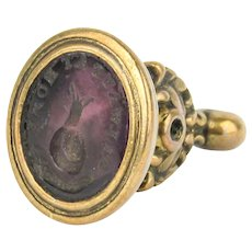 """Miniature Georgian Intaglio Seal Fob of a Snail """"Always at Home"""""""