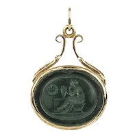 14K Victorian Green Glass Tassie Intaglio Pendant of Agrippina Mourning Germanicus