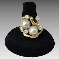 Vintage Modernist Bypass Ring with Diamonds & Pearls 14K Textured Gold