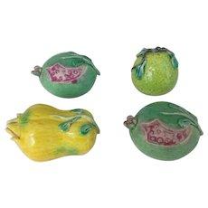 Set of 4 Chinese Export Porcelain Altar Models Fruit - Pomegranate, Citron, Pear