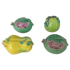 Set of 4 Chinese Export Porcelain Altar Models Fruit - Pomegranate, Citron, Pear