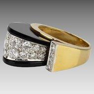 Signed Vintage Modernist 2CT Diamond & Onyx 18K Domed Cocktail Ring TISHMAN & LIPP