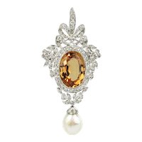 Belle Epoque Topaz and Diamond Pendant - Brooch