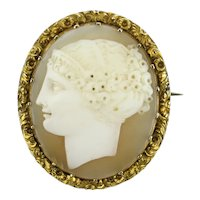 15K Georgian Shell Cameo Brooch of a Classical Beauty