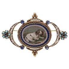 Fine 19th C Italian Micro Mosaic Brooch of King Charles Cavalier after Giacomo Raffaelli