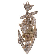 18K Diamond Anchor and Dolphin Brooch / Pendant c1900