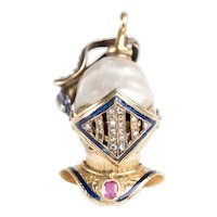Mid 19th C Enamel, Ruby and Diamond Italian Knight Helmet Pendant