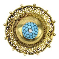 Etruscan Revival 18K Turquoise and Diamond Brooch