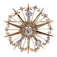 Retro 14K Felger Diamond Star Brooch Pendant - F&F