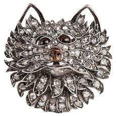 French Rose Cut Diamond Dog's Head Brooch - c1860