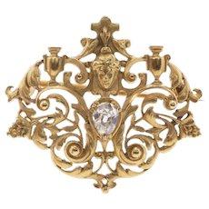 French 18K Diamond Maiden Brooch