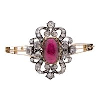 Antique Rose Cut Diamond and Rubellite Plaque Mounted as a Bangle Bracelet
