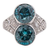 Art Deco Platinum, Diamond and Zircon Ring