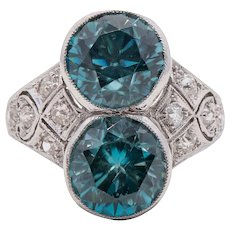 Art Deco Platinum, Diamond and Zircon Ring