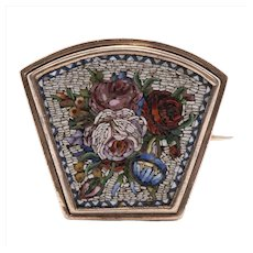 Late 19th C 14K Floral Micro Mosaic Pin