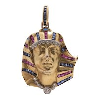 18k French Egyptian Revival Pharaoh Pendant with Sapphires and Rubies
