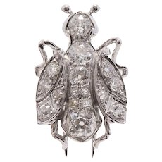 French Platinum and Diamond Bee Brooch Clip
