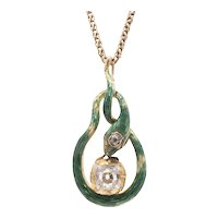 18K Peruzzi Cut Diamond and Green Enamel Snake Pendant - from c1830's Tie Pin