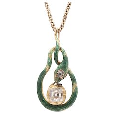 18K Peruzzi Cut Diamond and Green Enamel Snake Pendant - from c1830's Tie Pin