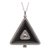Art Deco Platinum, Diamond and Onyx Pendant Watch by Dreicer & Co.