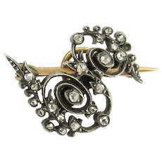 Victorian Scrolling Silver Topped 18K Rose Cut Diamond Watch Pin Brooch