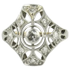 Art Deco Platinum Topped Diamond Pinky Ring