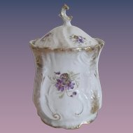 KPM Porcelain Biscuit Jar - Violets & Gold Gilt