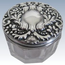 Sterling Silver/Cut Glass Dresser Jar