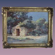 "French Impressionist Painting ""Provence, France""  19c. Oil on Board - Original Gold Frame - Artist Signed P. Font"