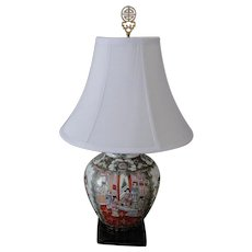 Rose Medallion Style Porcelain Lamp/Wood Base/White Shade/Chinese Brass Finial