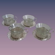 Matching Set 4 - Silver Serving Cups/Glass Insert/Silver UnderPlate