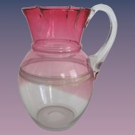 Victorian Hand Blown Cranberry Glass Water Pitcher