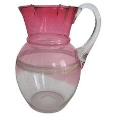 Victorian Hand Blown Cranberry Glass Water Pitcher