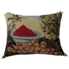 "Large Designer Needlepoint Pillow ""Fruits & Bird"" -K. Diddel"