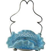 Vintage Petit Bride's Basket Style Bon Bon Dish, Sky Blue Glass - Silver Frame