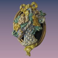 "Vintage Door Knocker ""Basket with Flowers"" Design by Hubley"