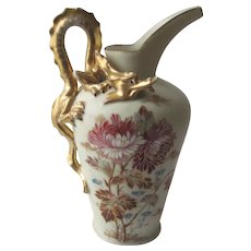Antique H.P. Porcelain Pitcher - Unique & Rare Dragon Handle - Gold Gilt -  Carlsbad