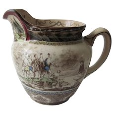 "Antique Buffalo Pottery Historical Pitcher ""Landing of Roger Williams"""