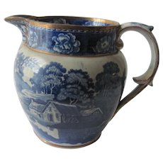 Historical Blue Staffordshire Transferware Pitcher c.1840