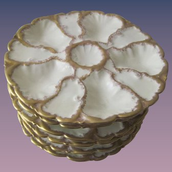 Set of Six Antique Limoges Oyster Plates - Heavy Gold Gilding
