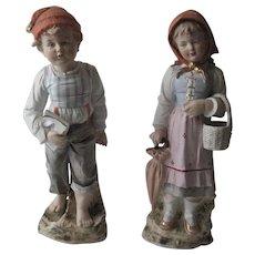 Pr. Large Vintage Girl & Boy Bisque Figurines - Heubach