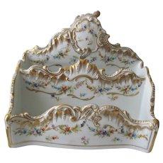 Antique Limoges Porcelain Desk Set - Letter Holder/ PenTray/Blotter Corners