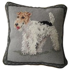 """Needlepoint Pillow - """"Wire Haired """"Fox Terrier"""""""