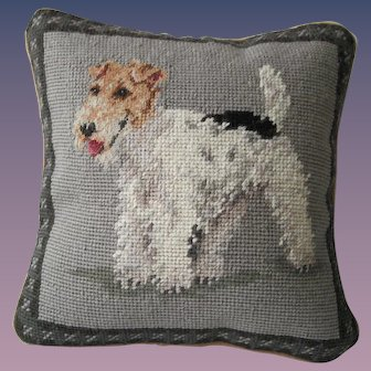 "Needlepoint Pillow - ""Wire Haired ""Fox Terrier"""