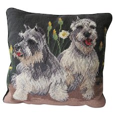"Charming Large Needlepoint  Pillow "" Two Schnauzers"""